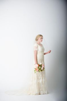 modest wedding dress with flutter sleeves from alta moda. -- (boho modest bridal gown).