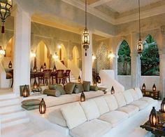 0 the good Moroccan living room corner beige sofa in the Moroccan style house - Moroccan Room, Moroccan Interiors, Moroccan Lounge, Moroccan Living Rooms, Moroccan Inspired Bedroom, Architectural Digest, Interior Architecture, Interior And Exterior, Style Marocain