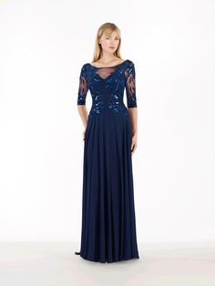 Long Blue 3/4 Length Sleeve Illusion Neckline Chiffon Mother of The Bride Dresses 99803042