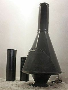 Mid Century Modern Black ELECTRIC Freestanding Cone Fireplace Malm Style Atomic!