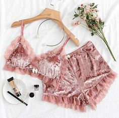 To find out about the Applique Detail Lace Bralette & Velvet Shorts Set at SHEIN, part of our latest Sexy Lingerie ready to shop online today! Cute Sleepwear, Lingerie Sleepwear, Lingerie Set, Nightwear, Cute Pajamas, Pajamas Women, Pajama Outfits, Cute Outfits, Lingerie Design