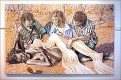 The this painting, by Rod Moss of Alice Springs, features three Aboriginal people gathered around an enshouded Jesus  Permalink