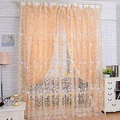 2017 New Print Floral Voile Door Sheer Window Curtains Room Curtain Divider tulle curtains cortinas rideaux Tulle Curtains, Printed Curtains, Floral Curtains, Grommet Curtains, Window Curtains, Room Window, Valances, Curtain Divider, Voile Panels