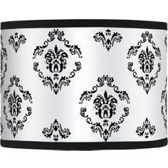DIY lamp shade - paint damask stencil design on plain lamp shade add trim on top bottom edges Chandelier Light Shade, White Lamp Shade, Light Shades, Damask Stencil, Stencil Diy, Stencil Designs, Stencils, Custom Lamp Shades, Diy Home Crafts