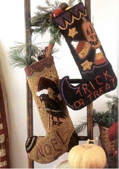 Rug Hooking Pattern  Holiday Stocking Halloween or by folkandfiber
