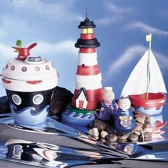 Perky Pots Cruise Ship, Sailboat, Lighthouse, Captain and Sailor
