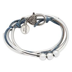 Mini Friendship leather wrap bracelet with 3 Beads in Natural True Blue leather, comes as shown