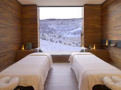 Amangiri Resort and Spa, Utah. Amangiri Resort and Spa, Utah. Amangiri Resort Utah, Amangiri Hotel, Massage Room Design, Spa Treatment Room, Spa Treatments, Spa Hotel, Spa Rooms, Home Spa Room, Powder Room Design