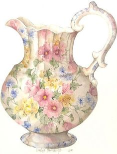 Princess Pitcher watercolor from CShoresInc on Artfire. Saved to Art by Carolyn Shores Wright. Antique China, Vintage China, Vintage Tea, Teapots And Cups, Tea Art, China Painting, China Porcelain, Glass Art, Decoupage