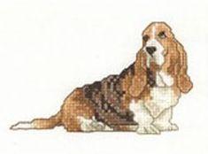 Cross Stitch Embroidery Design: Basset Hound from Vermillion Stitchery