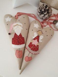 Grosses Herz mit appliziertem Nikolaus - eine zauberhafte Deko für die Wand, Fenster oder Tür.  -mit langem Aufhängeband, das je nach Belieben gekürzt werden kann  Größe 30 x 15...
