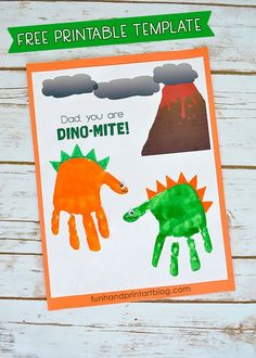 Handprint Dinosaur Printable Template for Father's Day Card - Dad, You Are DINO-MITE! perfect fathers day gift, fathers day for grandpa, gift for fathers birthday Dinosaur Printable Template for Father's Day Card - Dad, You Are DINO-MITE! Dad Crafts, Daycare Crafts, Toddler Crafts, Preschool Crafts, Crafts For Kids, Dinosaur Printables, Dinosaur Crafts, Preschool Dinosaur, Free Printables