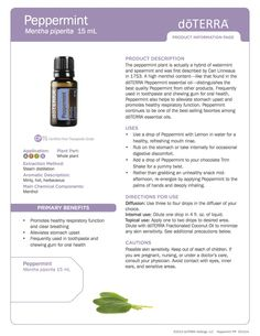 Peppermint doTerra Essential Oils product information