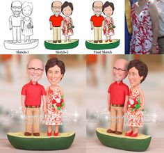 Funny Anniversary Cake Toppers Canoe Theme