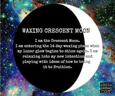 Magical definition of a waxing crescent moon Cresent Moon, Waxing And Waning, Moon Spells, Moon Witch, Sea Witch, Lunar Phase, Wicca Witchcraft, Moon Magic, Beautiful Moon