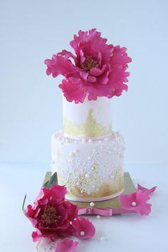 Bright Big Peony Cake - Cake by Cookie Hound!