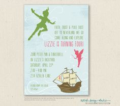 Peter Pan Invitations Printable or Printed by RelishDesignStudio