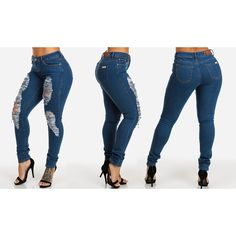 Women's ModaXpressOnline.com Five-Pocket Distressed Skinny JeansStyle... ($25) ❤ liked on Polyvore featuring jeans, blue, blue jeans, distressed jeans, ripped jeans, ripped skinny jeans and distressed skinny jeans