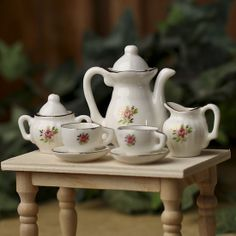 Miniature Ceramic Rose Tea Set - 9pcs
