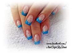See blue with Stamping - www.facebook.com/NailStyleByDani #naildesign #nailart #frenchnails #gel #manicure #maniküre