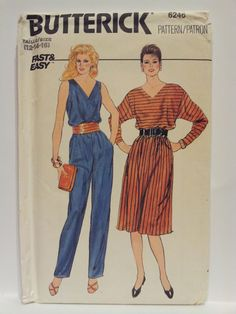 1980's Dress and Jumpsuit Butterick 6246 Size 12 14 by YouSewOld