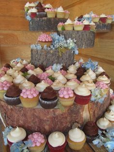 outdoor wedding at piney lake where fun and festive summer cupcake flavors sit atop a hand-made wooden stand created by local groom, hydrangeas hand-placed by batter cupcakes