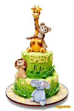 Dschungel-Thema-Babyparty - Several Easy Babyshower Game Ideas Babyshower games thoughts Jungle Theme Cakes, Safari Cakes, Safari Theme, Jungle Party, Safari Party, Jungle Safari Cake, Baby Cakes, Cake For Baby, Sweet Cakes