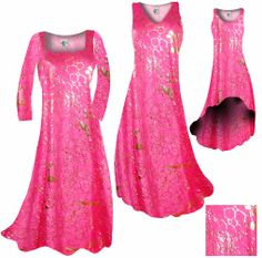Customize Hot Pink & Gold Metallic Shiny Slinky Print Plus Size & Supersize Standard or Cascading A-Line or Princess Cut Dresses & Shirts, Jackets, Pants, Palazzo's or Skirts Lg to 9x