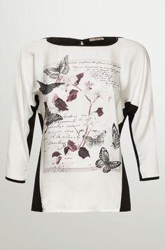 Dvoubarevné tričko s motýly