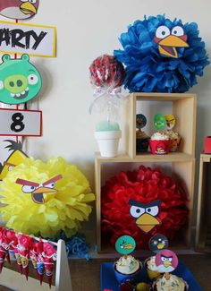 Angry Birds Birthday Party decorations!  See more party planning ideas at CatchMyParty.com!