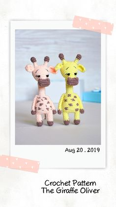 DIY easy crochet pattern animals - giraffe Crochet Toys Patterns, Amigurumi Patterns, Stuffed Toys Patterns, Crochet Ideas, Crochet Mouse, Crochet Dolls, Handmade Ideas, Handmade Toys, Single Crochet Stitch