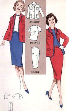 1960s Misses Blouse Blazer and Slim Skirt