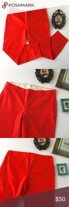 J. Crew Minnie Pants Never worn, gorgeous stretch ankle pants.  This is a reposh--unfortunately they didn't fit me.  The color is a very bright red-orange. J. Crew Pants Ankle & Cropped