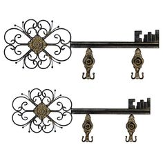 Two Metal Key Shaped Wall Hooks. Product: Small And Large Key Wall Hook