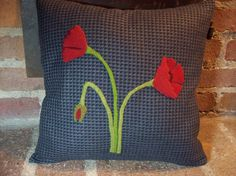 Simply Poppies Pillow Slipcover by rustiquecat on Etsy