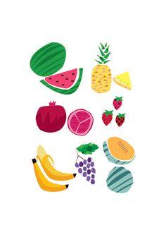 Fruit Soiree Art Print. Digital illustration of fruit, colourful.