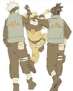 Kakashi, Naruto, Iruka, cute; Naruto