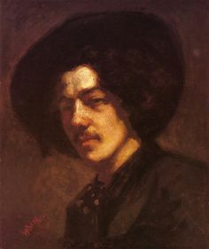 Page: Portrait of Whistler with a Hat  Artist: James McNeill Whistler  Start Date: 1857  Completion Date:1859  Style: Realism  Genre: self-portrait  Technique: oil  Material: canvas  Dimensions: 38.1 x 46.3 cm  Gallery: Freer Gallery of Art, Washington, DC, United States)