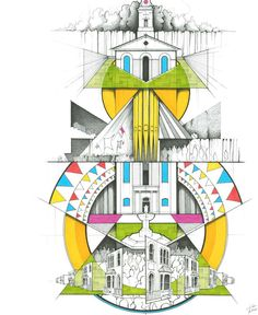 Architectural Plan & Architecture Sketch Designs, Inspiration for CAPI Student Projects , Drawing, Lineart Design Collage Architecture, Architecture Symbols, Landscape Architecture Drawing, Architecture Sketchbook, Architecture Graphics, Interior Design Sketches, Sketch Design, A Level Art Themes, A Level Art Sketchbook