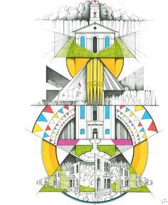 Clapton Festival Illustration by Kyle Henderson. Architecture Symbols, Architecture Graphics, Landscape Architecture Drawing, Architecture Sketchbook, Architecture Collage, Architecture Board, Interior Design Sketches, Sketch Design, A Level Art Sketchbook