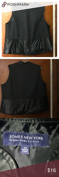 Woman's Plus Size Black Vest Nice Woman's Vest, soft thin quilted texture upper and smooth lower with zipper front, color Black, size 3X. Great condition. Jones New York Jackets & Coats Vests