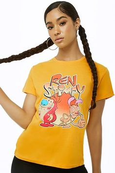 Ren and Stimpy Graphic Tee Slogan Tops, Japanese Harajuku, Forever 21 Shirts, Shop Forever, Latest Trends, Crop Tops, Women's Tops, Graphic Tees, Tee Shirts