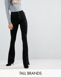 Buy ASOS DESIGN Tall bell flare jeans in clean black with pressed crease at ASOS. With free delivery and return options (Ts&Cs apply), online shopping has never been so easy. Get the latest trends with ASOS now. Kick Flare Jeans, Tall Jeans, Black Jeans, Petite Flare Jeans, Asos, Clothing For Tall Women, Cool Outfits, Fashion Outfits, Style