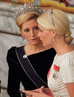 (L-R) Crown Princess Marie-Chantal of Greece and Crown Princess Mette-Marit of Norway attend a Gala Dinner