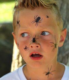 Teen Boy Halloween Costume, Teen Boy Costumes, Halloween Makeup For Kids, Halloween Make Up, Kids Halloween Face Paint, Halloween Facepaint Kids, Halloween Spider Makeup, Scary Face Paint, Halloween Nail Decals