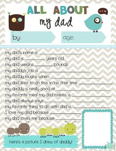 Free Printable Father's Day Questionnaire from Meet the Dubiens