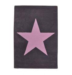 Lorena Canals Teppich Stern grey wool rug with pink star #girls #girlsroom #kids #kidsroom #woolRug #rug #stars #grey #gray #pink #interior