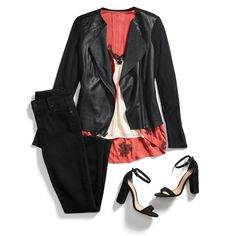 Layer up to party down! Soften a tough moto jacket with a lacy cami & flowy kimono for a night out. #StylistTip