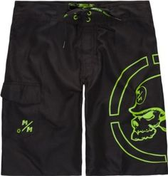 "METAL MULISHA Spanned Mens Boardshorts. Metal Mulisha Spanned boardshorts. Tie waist with Metal Mulisha logos on grommets and Metal Mulisha logos screened near aglets. Large Metal Mulisha skull printed at left leg. Cargo pocket at right leg with Velcro flap closure and Metal Mulisha logo print. Approx outseam: 21""(53cm). 100% polyester. Machine wash. Imported."