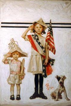 I Love America, God Bless America, Vintage Cards, Vintage Images, Vintage Pictures, Vintage Postcards, Jc Leyendecker, Norman Rockwell Art, Rockwell Paintings